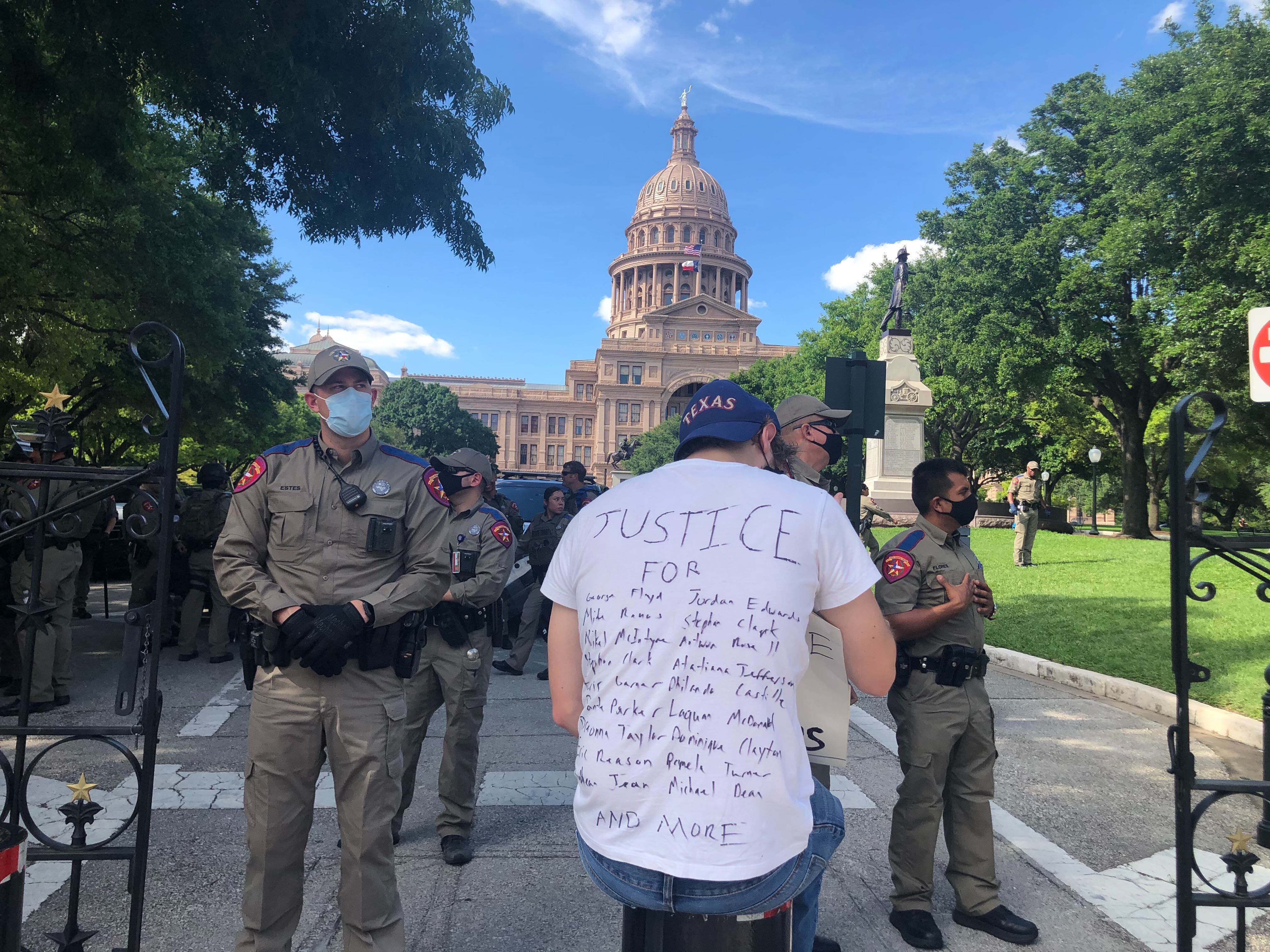 Protester near Texas Capitol 5-30-20