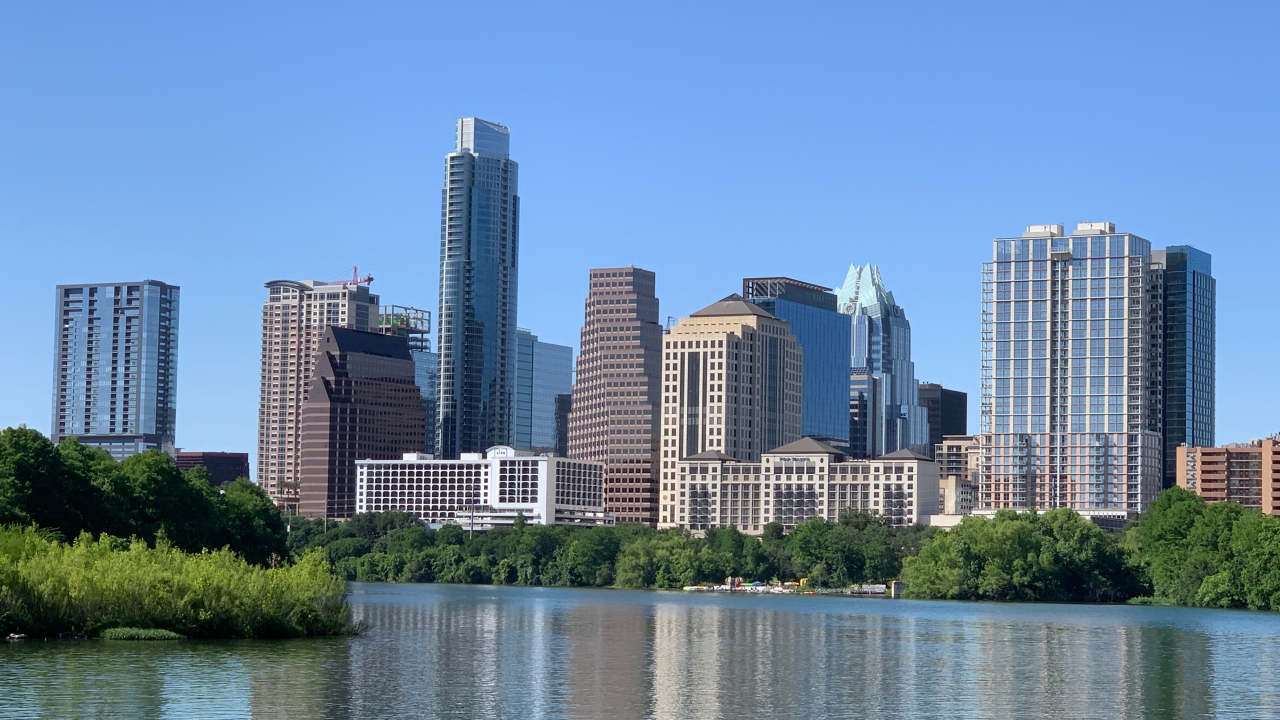 Downtown Austin skyline April 30, 2020 (KXAN Photo/Kristen Currie)
