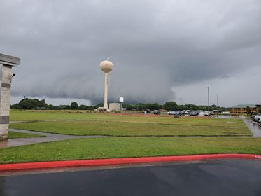 , courtesy of Shannon Smith. Update 11:37 a.m. Our official storm spotter – Gabe Cox with Tornado Trackers – confirmed large, multi-vortices tornado near Paige (northern Bastrop County) at 11:35 a.m. Reports of debris. No photos or videos at this time. Update 11:30 a.m. Our official storm spotter – Gabe Cox with Tornado Trackers – confirms a large tornado on the ground near Paige. Debris reported. Update 11:22 a.m. A look at what was likely the confirmed tornado near Smithville about 15-30min ago. COURTESY: Robert Tamble | Smithville City Manager Update 11:08 a.m. TORNADO WARNING in effect for Bastrop & Lee County until 11:30AM – CONFIRMED TORNADO just northwest of Smithville. Storm moving northeast at 20MPH. Update 11:05 a.m. Very heavy rain and gusty winds moving through the Austin-area. Lightning possible. No warnings in effect for the city of Austin. Stay inside while these storms move through. Update 10:58 a.m. TORNADO WATCH in effect for Austin-metro & eastern counties until 5PM. Update 10:55 a.m. Photo of storm just north of FM 535 & HWY 304 – courtesy of KXAN viewer Kelsey Snow. Update 10:47 a.m. One of the three tornado warnings have expired. Still watching areas of circulation in Bastrop & Lee County until 11:15a.m. Storms moving north/northeast at 15-20mph. Update 10:42 a.m. Three tornado warnings in effect for Bastrop, Caldwell & Lee Counties – watching three areas of rotation in the area. Seek shelter immediately. Storms moving north/northeast at 15-20mph. Update 10:36 a.m. Video of dark, low-hanging clouds from Chase Becker near Red Rock. Update 10:32 a.m. KXAN viewer Eric Spurlock sent us video of dark clouds over Red Rock. Update 10:18 a.m. TORNADO WARNING in effect for Bastrop, Lee and Fayette County until 10:45 a.m. A severe thunderstorm capable of a tornado was located over Smithville, moving northeast at 20mph. Those in the area should seek shelter immediately. Update 10:15 a.m. Severe Thunderstorm Warning in effect for Bastrop & Lee County until