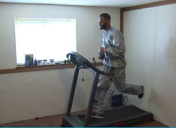 Boxer Joe Hicks trains at his mothers house (WOOD TV Photo)