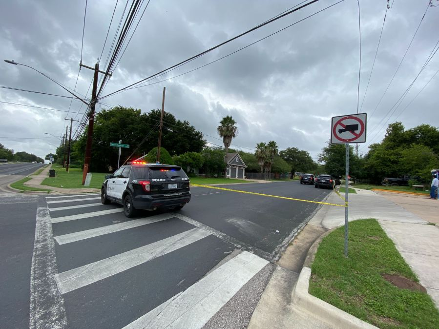 Pecan Springs Road homicide scene (KXAN Photo/Alex Hoder)