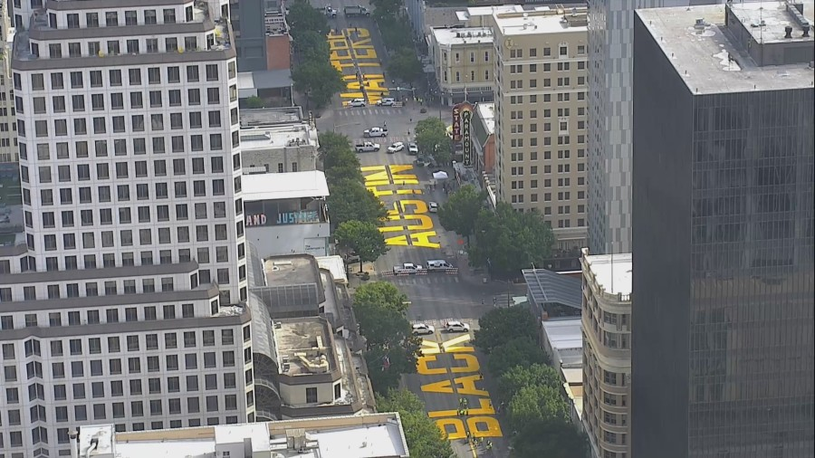 """The words """"Black Austin Matters"""" are painted on Congress Avenue Jne 16, 2020 (KXAN Photo)"""