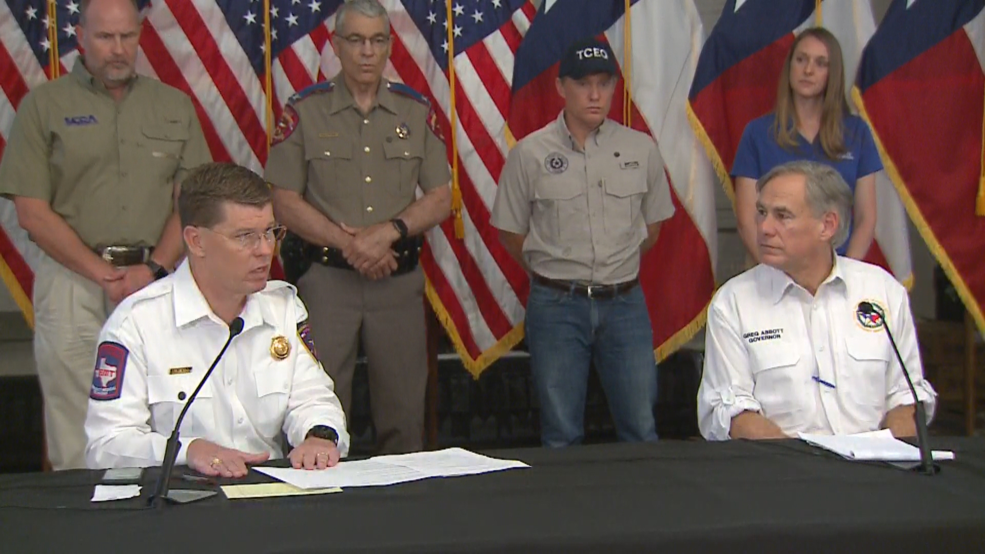TDEM Chief Nim Kidd and Gov. Greg Abbott at a press conference about coronavirus and storm preparations on June 5, 2020 (KXAN Photo)