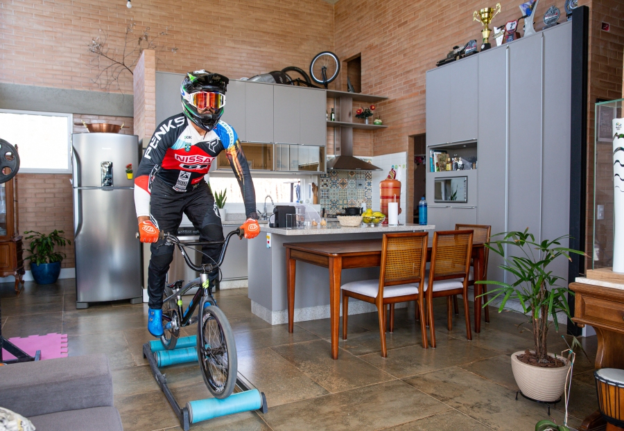 POCOS DE CALDAS, BRAZIL - JUNE 19: Renato Rezende, a BMX Olympic athlete, in action during a training session in his house amidst the coronavirus (COVID-19) pandemic on on June 19, 2020 in Pocos de Caldas, Brazil. (Photo by Alexandre Schneider/Getty Images)