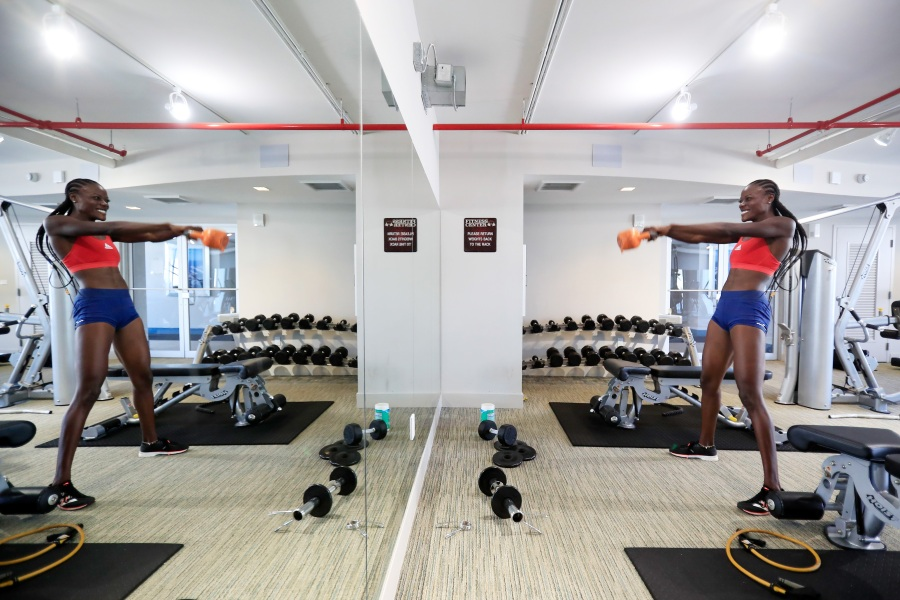 MIAMI, FLORIDA - JUNE 23: Team USA track and field athlete Shakima Wimbley trains in her home gym June 23, 2020 in Miami, Florida.  (Photo by Cliff Hawkins/Getty Images)