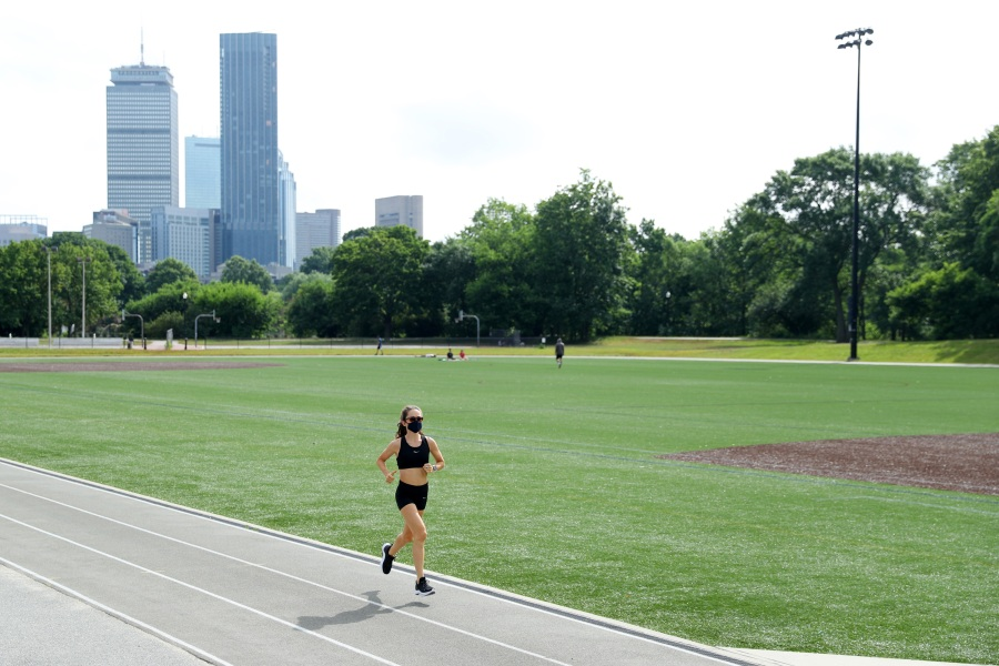 BOSTON, MASSACHUSETTS - JULY 10: Olympic runner Molly Seidel runs during a training session on July 10, 2020 in Boston, Massachusetts.  Athletes across the globe are now training for the Tokyo 2021 Olympic Games in isolation under strict policies in place due to the Covid-19 pandemic.  (Photo by Maddie Meyer/Getty Images)