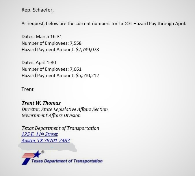 The May 22 TXDOT email confirming more than $8 million in hazardous duty pay for more than 7,000 employees.