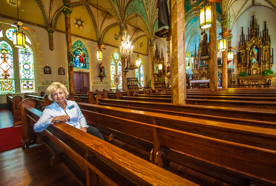 Tour guide Sharon Ranking at Nativity of the Blessed Virgin Mary Church in High Hill,Texas (KXAN Photo/Ben Friberg)
