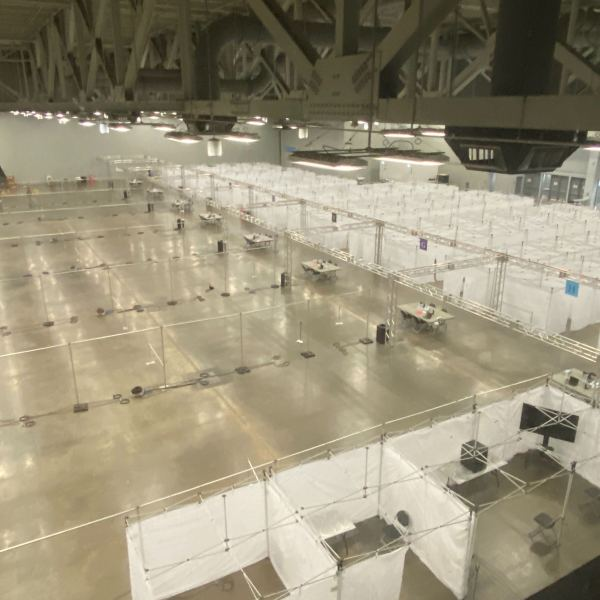 Part of the alternate care site set up at the Austin Convention Center in case hospitals are overwhelmed with COVID-19 patients. (KXAN photo/Alex Caprariello)