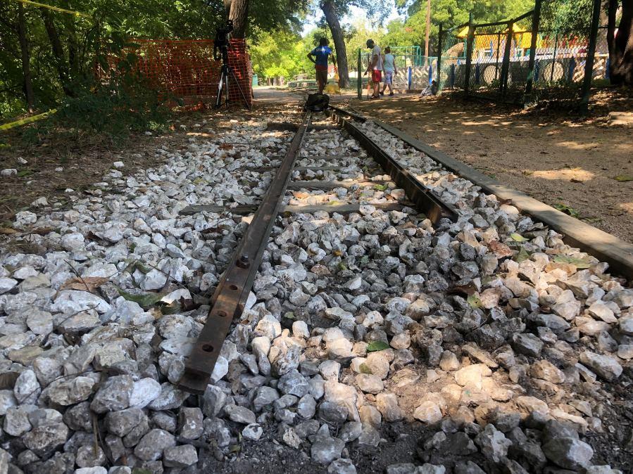 Zilker Zephyr train tracks were removed Aug. 13, 2020 (KXAN Photo/Frank Martinez)