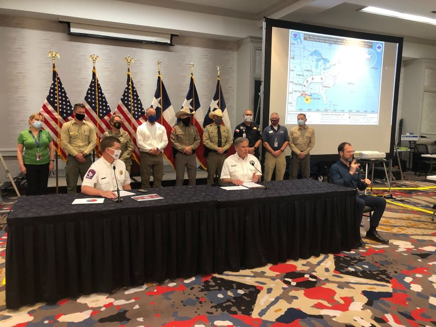 Gov. Greg Abbott and Chief Nim Kidd provided an update on Hurricane Laura Aug. 26, 2020 (KXAN Photo/Ed Zavala)