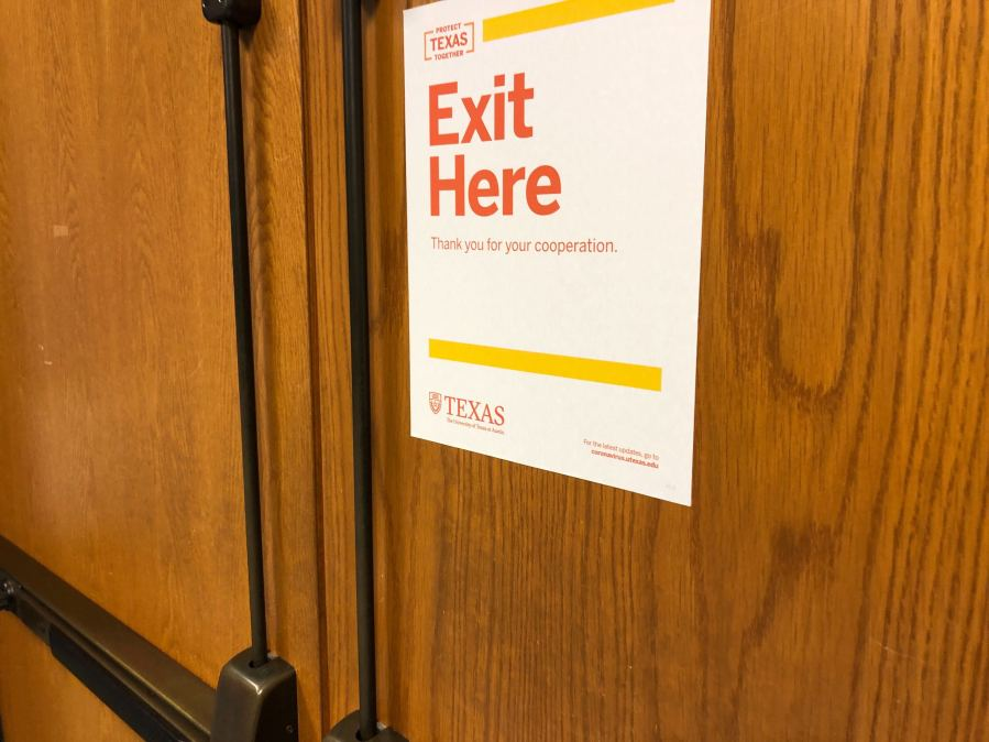 UT Classroom exit sign