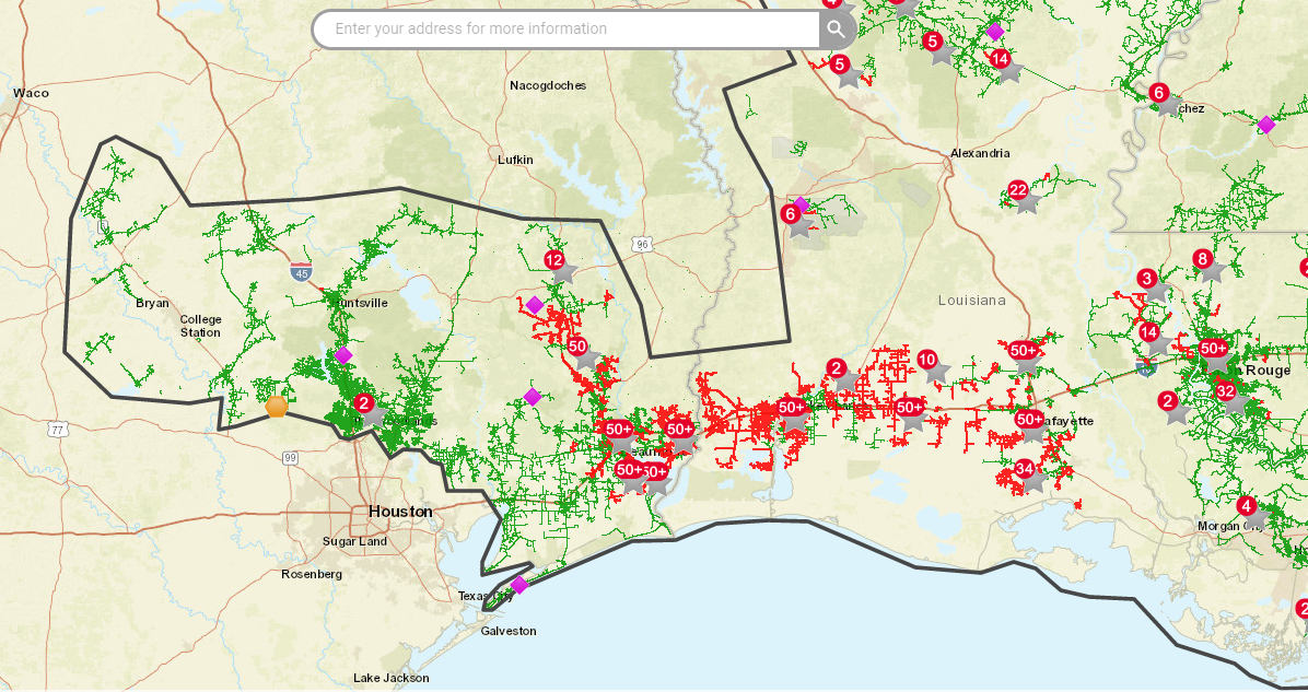 Map of power outages along Texas/Louisiana border Aug. 27, 2020 (Entergy Photo)