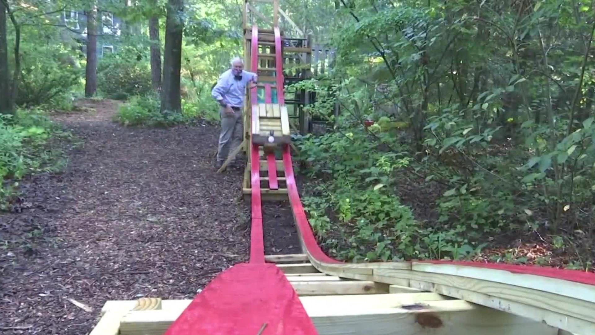 A grandfather and grandson build a roller coaster in their Rhode Island backyard (WJAR Photo)
