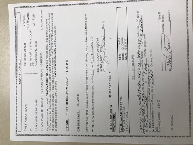 Craig Bauman arrest warrant