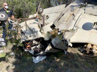 The site of a plane crash near Lago Vista Sept. 28, 2020 (ATC EMS Photo)
