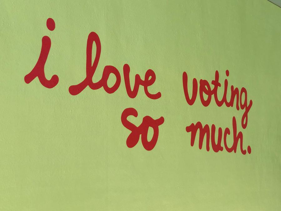 Jo's Coffee mural transformed into voting reminder (KXAN Photo/Chris Nelson)