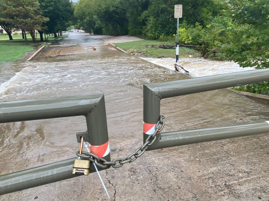 Flooding at 7416 West Highway 71 on Sept. 9 (KXAN Photo/Todd Bynum)