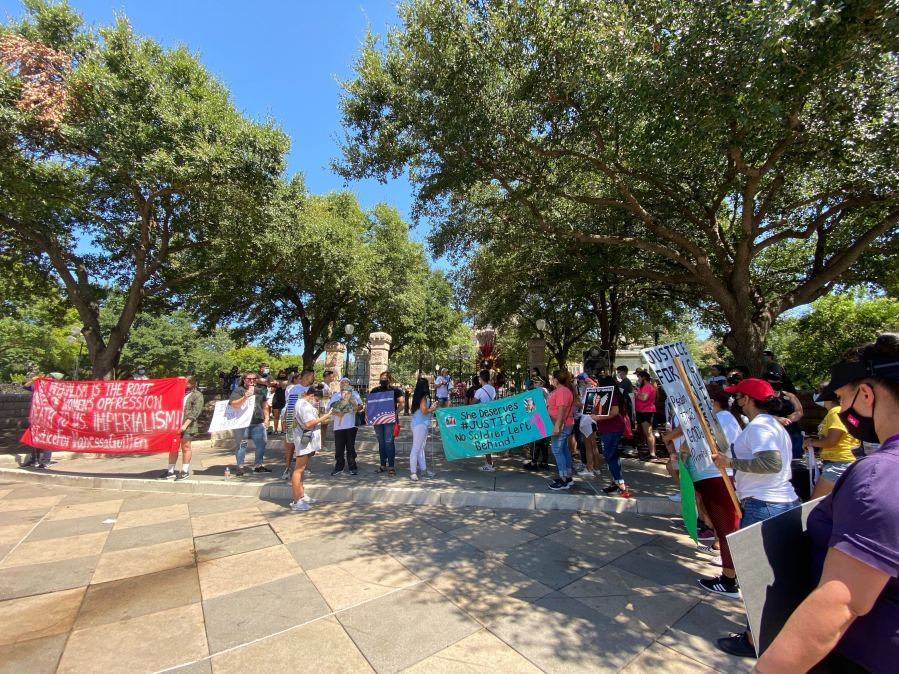 Supporters of the I Am Vanessa Guillen bill rally at the Texas Capitol Sept. 7, 2020 (KXAN Photo/Alex Hoder)