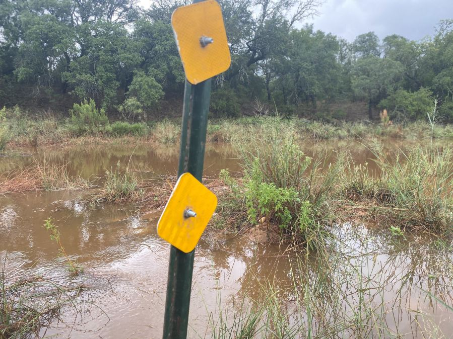Flooding at Sandy Creek in Llano County near Kingsland Sept. 9, 2020 (KXAN Photo/Kaitlyn Karmout)