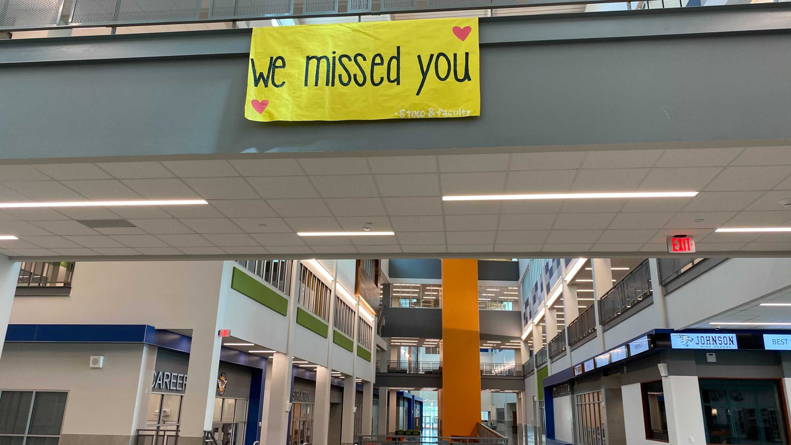 A sign welcomes in-person students back to Johnson High School Sept. 28, 2020 (KXAN Photo/Tahera Rahman)