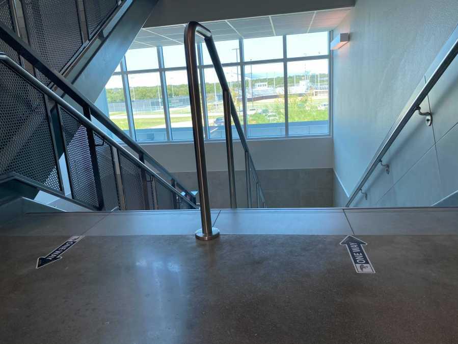 Stairways at Johnson High School are marked with arrows (KXAN Photo/Tahera Rahman)
