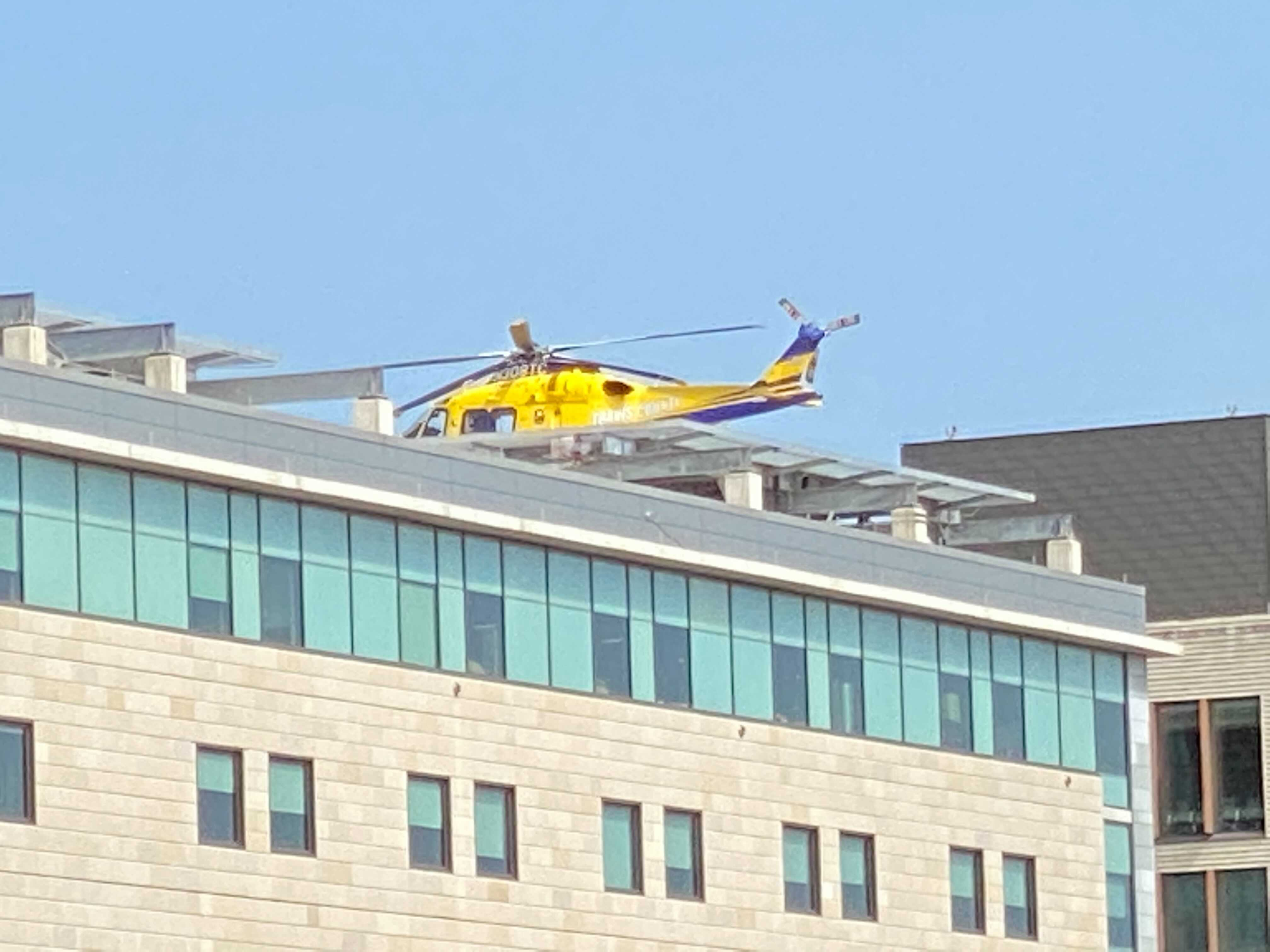 STAR Flight lands at Dell Seton with patient from plane crash (KXAN Photo/Todd Bynum)