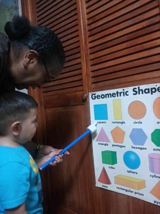 """I'm a teacher. I'm not a babysitter,"" said Loretta Johnson as her students learn geometric shapes (KXAN Photo/Loretta Johnson)"