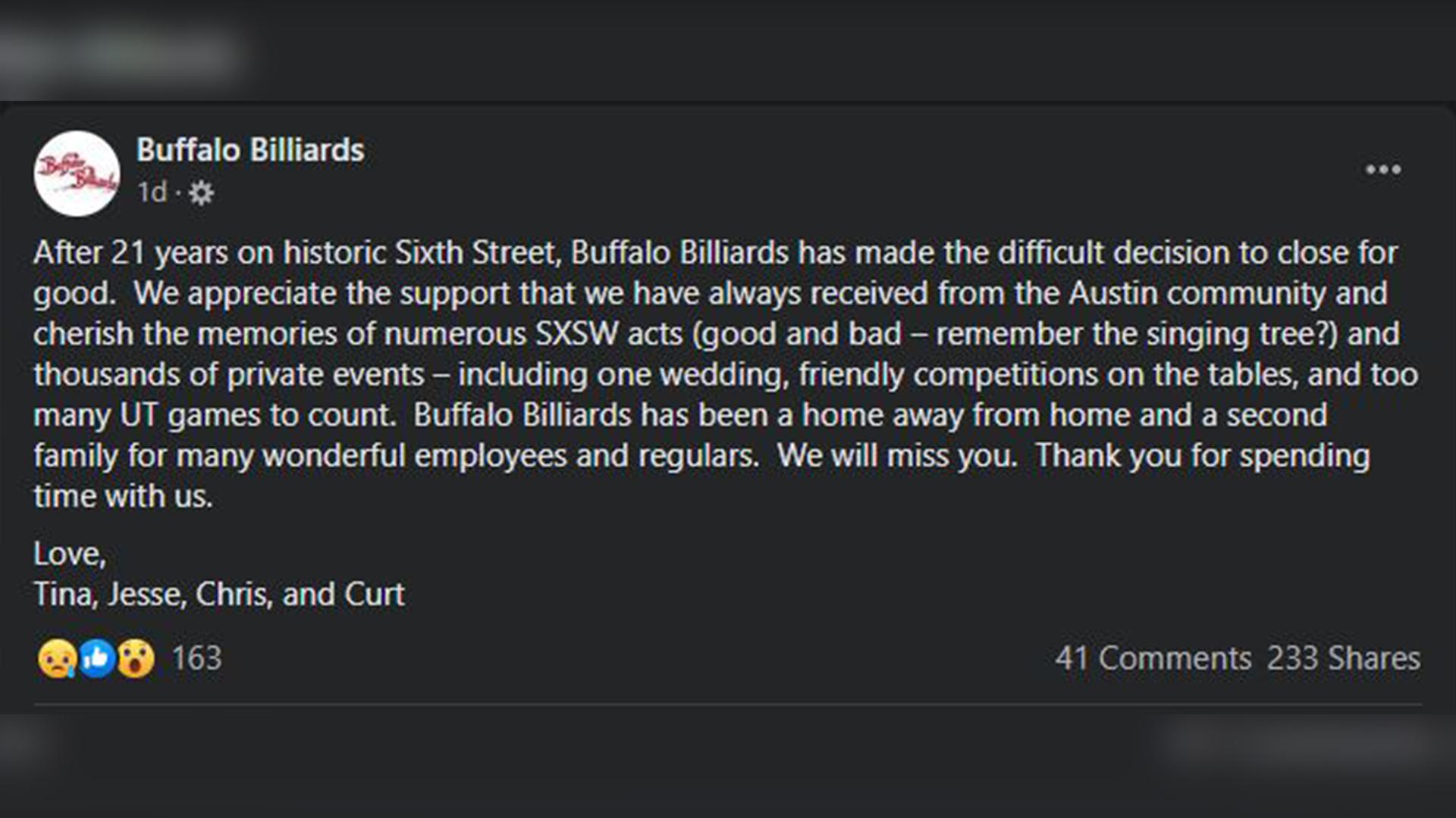 buffalo billiards closing