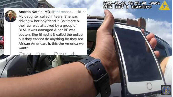 A Tweet from an Austin doctor and an image from the body camera video of Baltimore police responding to the call (Andrea Natale via Twitter Photo/Baltimore Police Department Photo)