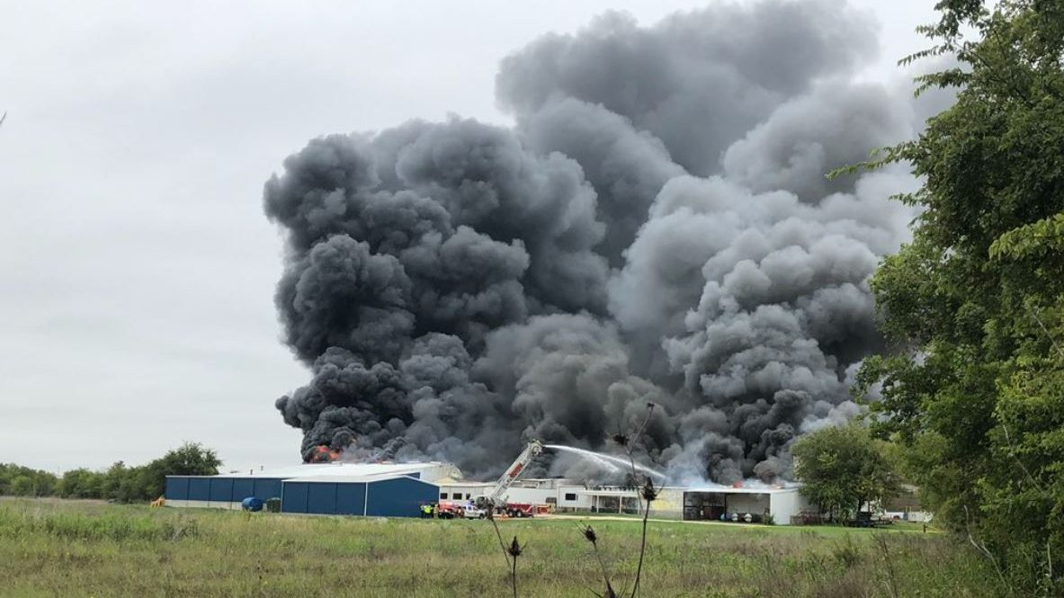 Chemical plant fire south of Walburg (Williamson County Sheriff's Office Photo)