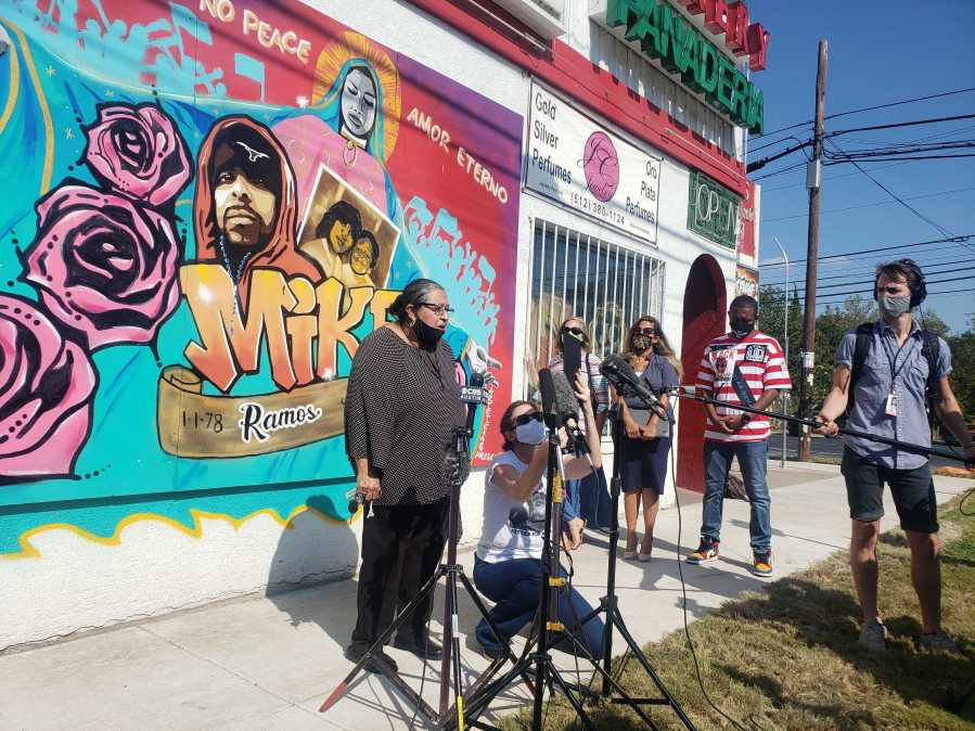 Brenda Ramos, mother of Mike Ramos, and Austin Justice Coalition press conference held Oct. 14 (KXAN/Andrew Choat)