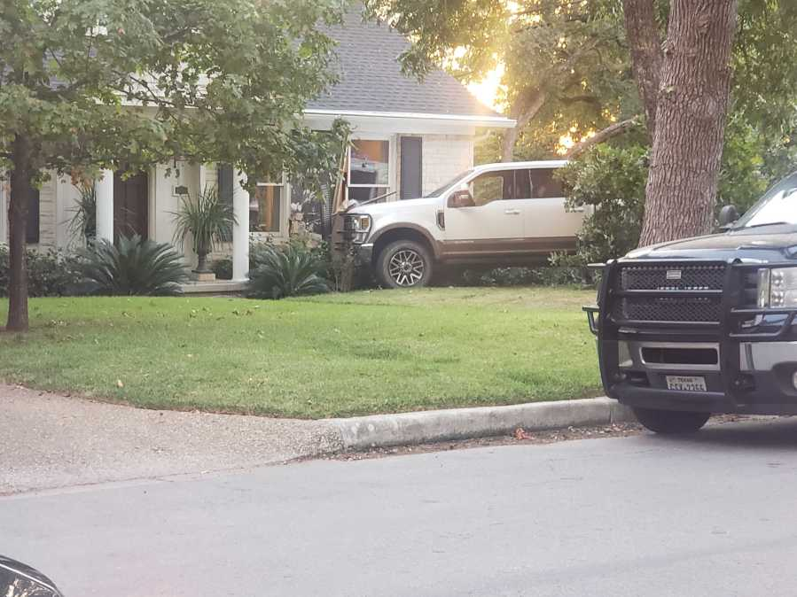 EMS responds after person crashes in the central Austin home Oct. 19 (KXAN/Andrew Choat)