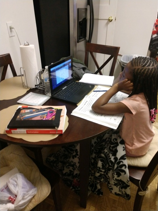 Londyn Barber sits at her grandmother's kitchen table to do her virtual schoolwork (Courtesy Audrey Lewis)
