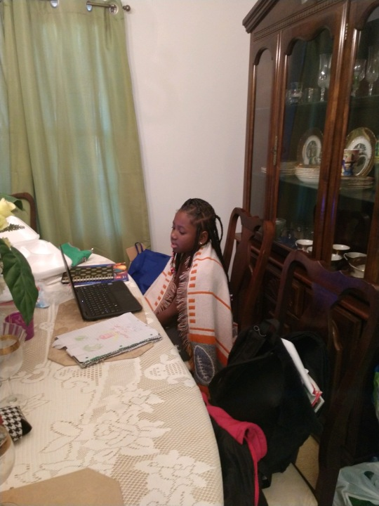 Lyric Barber attends online school at one of her grandmother's homes (Courtesy Audrey Lewis)