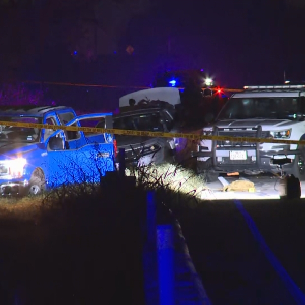 Scene after high-speed chase in Hays County (KXAN/Andrew Choat)