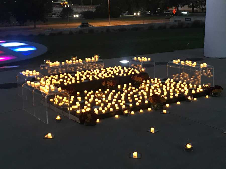 450 candles displayed at the Long Center for Performing Arts Oct. 29 to honor lives lost due to COVID-19 in Austin and Travis County (KXAN/Tim Holcomb)