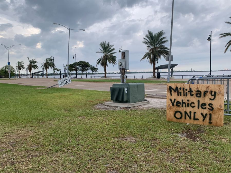 Damage from Hurricane Laura in Lake Charles, Louisiana—the town is now bracing for impacts from Hurricane Delta. (KXAN/Kristen Currie)