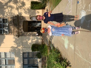 Anna Lodder's children in front of their school (Courtesy Anna Lodder)
