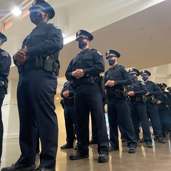 APD's 143rd cadet class graduated Friday, October 23, 2020, bringing 42 new officers onto the force. (KXAN Photo/Jacqulyn Powell)