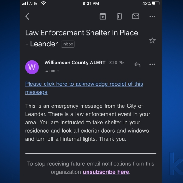 Williamson County email alerting residents in Leander to stay indoors (KXAN Photo)