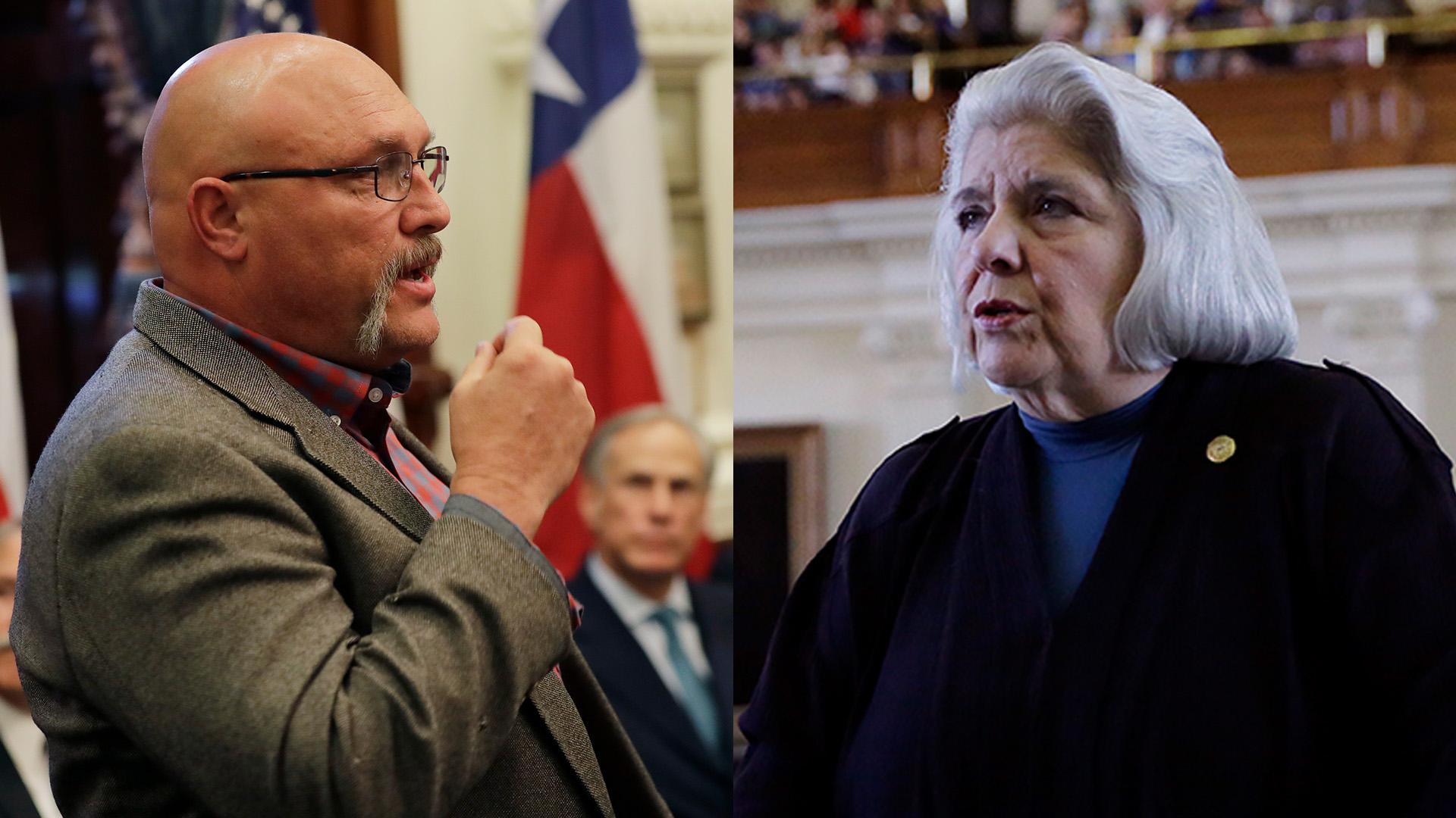 Frank Pomeroy and Judith Zaffirini (AP Photos)