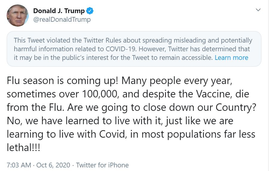 Twitter Flags Trump Tweet Comparing Flu To Covid 19 As Misleading And Potentially Harmful Kxan Austin