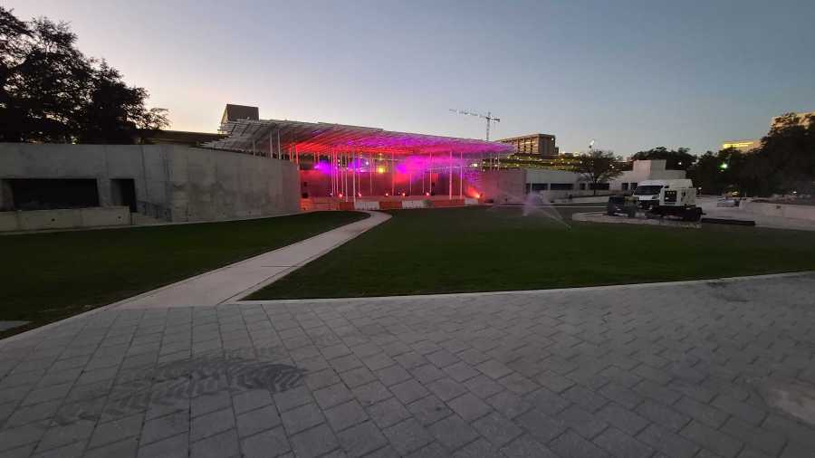Preview of Waterloo Park and the Moody Amphitheater lit up (KXAN Photo/Andrew Choat)