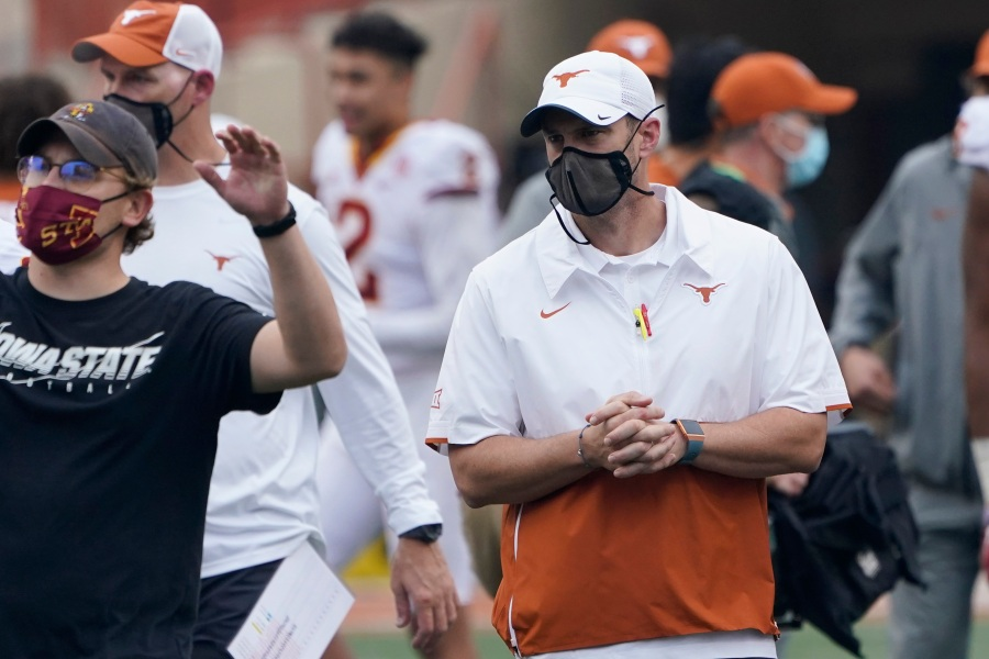 Longhorns coach Tom Herman looks ahead to Kansas State without discussing job security