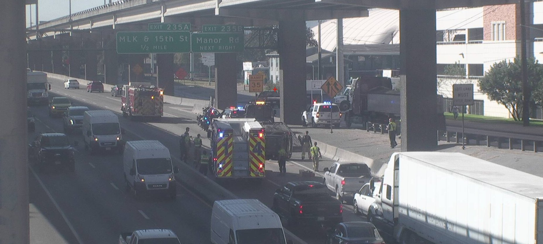 A crash on Interstate 35 near 32nd Street Nov. 18, 2020 (Austin Transportation Department Photo)