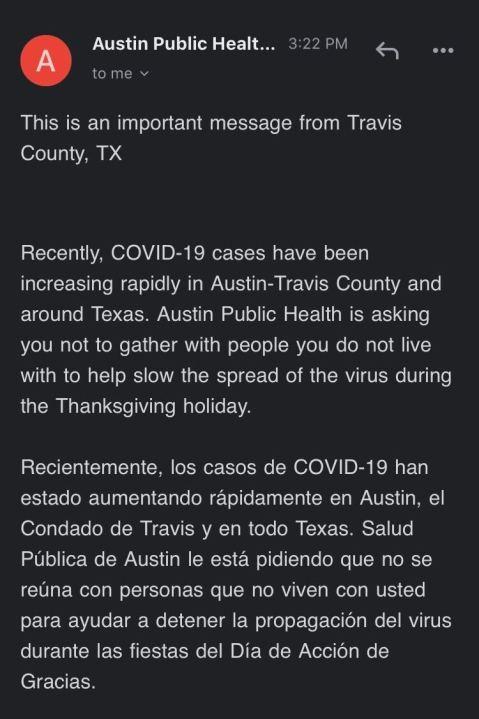 Austin-Travis County COVID-19 alert ahead of Thanksgiving