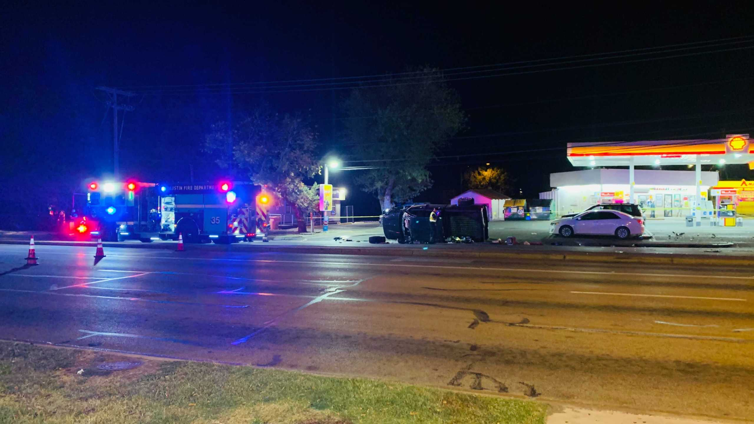 One person was taken to the hospital after a rollover accident at East Riverside Drive and Montopolis Drive Nov. 25 (KXAN/Andy Way)
