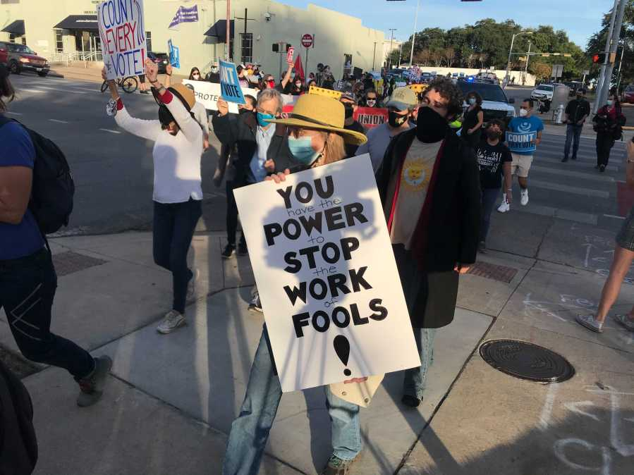 Protesters asking for every vote to be counted near 11th and Guadalupe Streets Nov. 4 (KXAN/Tim Holcomb)