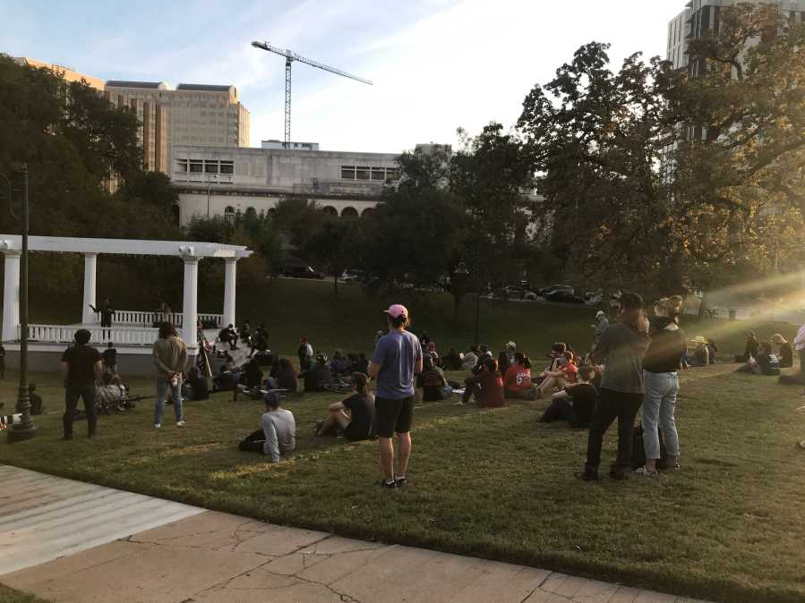 Austin Justice Coalition rally in downtown Austin Nov. 4 (KXAN/Tim Holcomb)